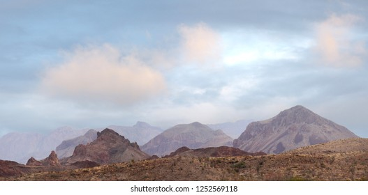 Panorama of the Unique Landscape of Big Bend National Park on a Cloudy Morning