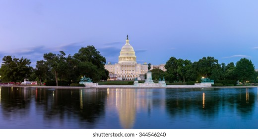 Panorama of the United States Capitol, seen from the the Capitol Reflecting Pool, Washington DC, USA.