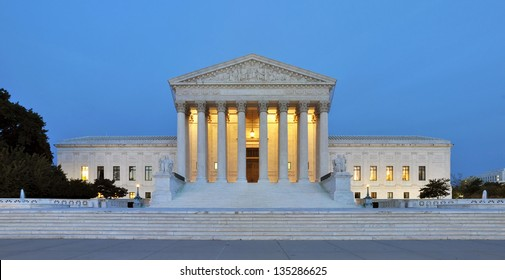 Panorama of the United States Supreme Court at dusk in Washington DC, USA.
