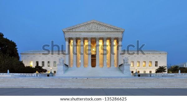 Panorama of the United States Supreme Court at dusk in Washington DC, USA.