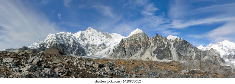 Panorama of the upper reaches of the glacier Gokyo with peaks Cho Oyu (8201 m) - Everest region, Nepal, Himalayas