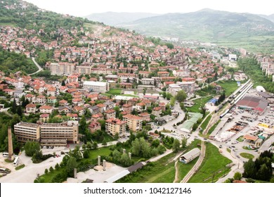 Panorama of the urban districts of Sarajevo, the capital of Bosnia and Herzegovina, and the mountains surrounding the valley of river Miljacka