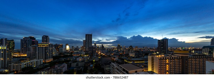 panorama of urban metropolitan cityscape in twilight sunset sky - can use to display or montage on product
