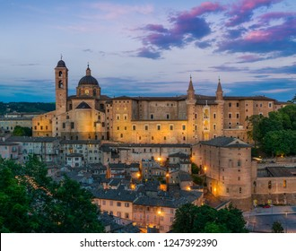 Panorama in Urbino at sunset, city and World Heritage Site in the Marche region of Italy.