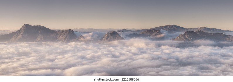 Panorama of Urkiola and Gorbea mountains at foggy morning