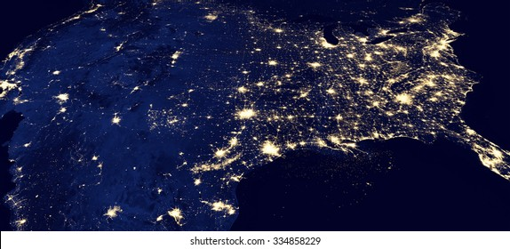 Panorama of the USA by night - Elements of this image furnished by NASA
