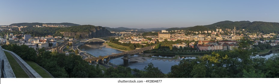 Panorama of Usti nad Labem town with river Labe in summer