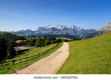 panorama in Val Badia, Dolomites. In the background the Marmolada