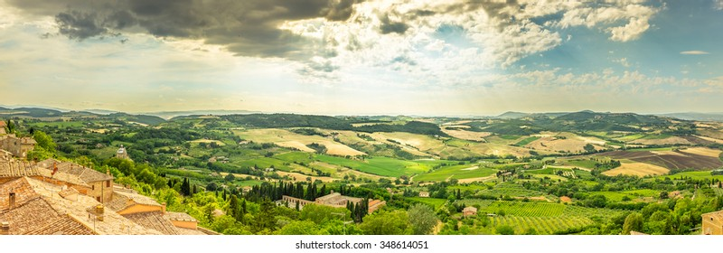 Panorama of Val D'Orcia valley in Tuscany. A view from Montepulciano town.