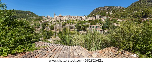 Panorama Valldemossa hilltop. View of village of Valldemossa, Mallorca, Balearic islands, Spain.