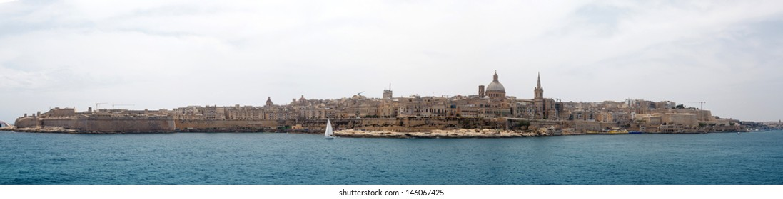 panorama of Valletta and Marsamxett Harbour, Malta