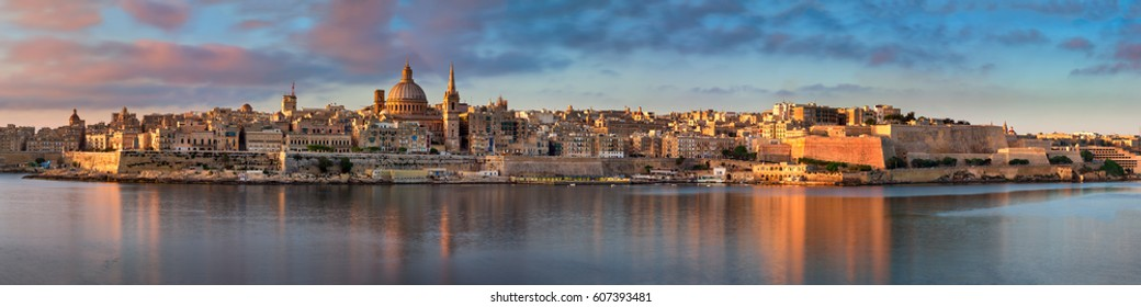 Panorama of Valletta Skyline in the Morning, Malta