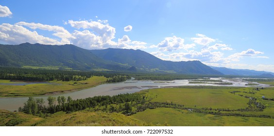 Panorama. The valley of the Siberian river Katun in the Altai Mountains. A bright sunny day.