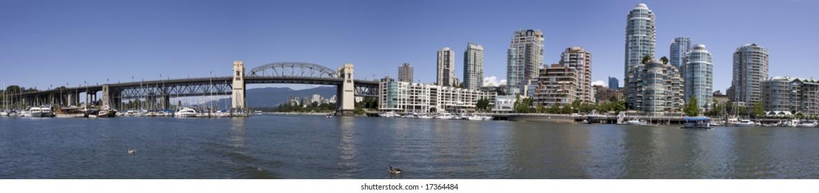 A panorama of Vancouver's Burrard Street Bridge and False Creek.