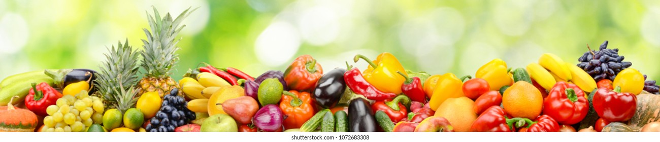 Panorama of vegetables and fruits on abstract green blurred background. Copy space