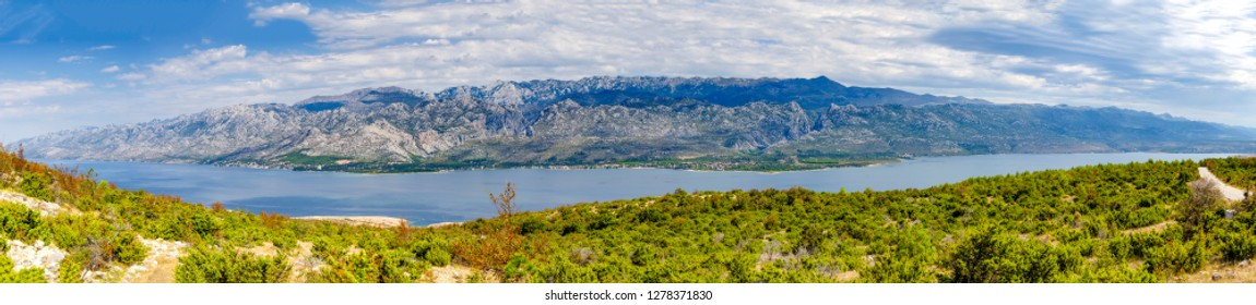 Panorama of Velebit mountains. Sveto Brdo, Vaganski vrh, Paklanica. Croatia, Seline, Starigrad, Modric