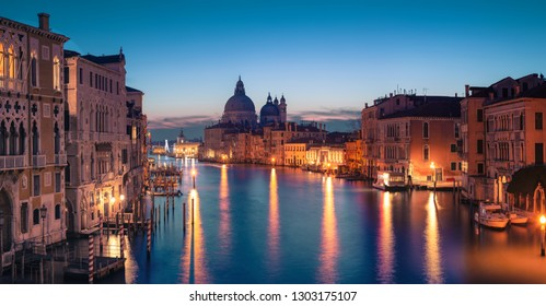 Panorama of Venice. Cityscape image of Grand Canal in Venice, with Santa Maria della Salute Basilica in the background.