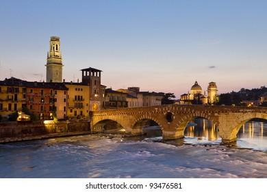 Panorama of Verona across Adige River with Ponte Pietro, Duomo (Dome) and Chiesa di San Giorgio in Braida
