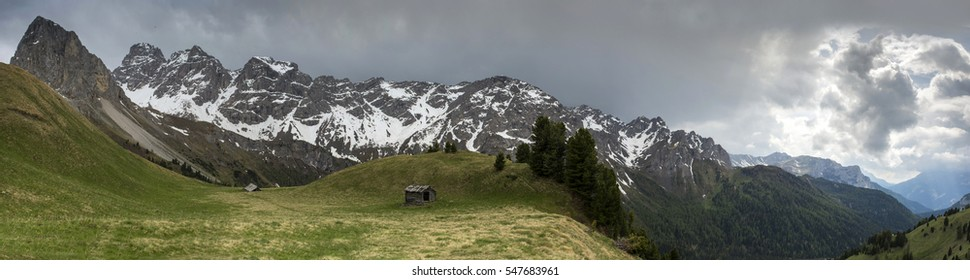 Panorama from Via ferrata at the top of Colac. Dolomites in the Alps.