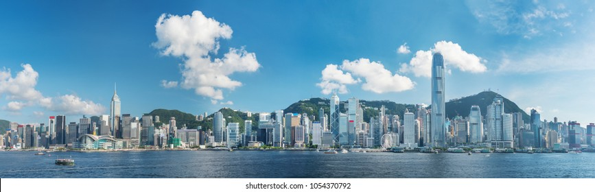Panorama of Victoria Harbor of Hong Kong city