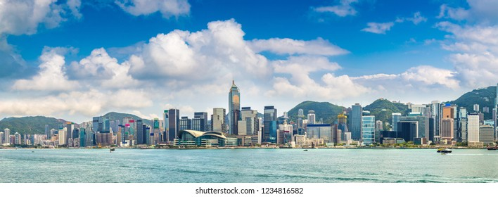 Panorama of Victoria Harbour in Hong Kong at summer day