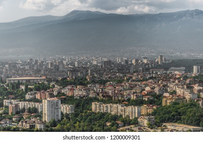 Panorama view from above to the Sofia City and Vitosha Mountain in background. View from airplane