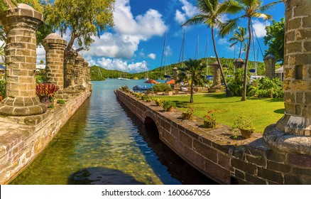 A panorama view across a causeway in the English Harbour in Antigua