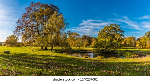 A panorama view across the Parsons Pond near Bury St Edmund, Suffolk