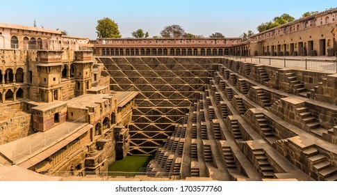 A panorama view across a step well at Abhaneri near to Jaipur, Rajasthan, India in the morning