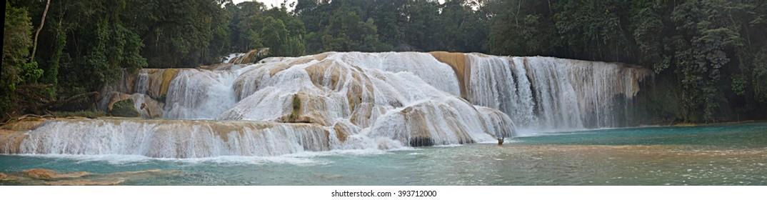 Panorama view of Agua Azul cascades waterfall, Yucatan  Peninsula, Mexico.Agua Azul waterfall is located 64 km from Palenque, Yucatan  Peninsula, Mexico.