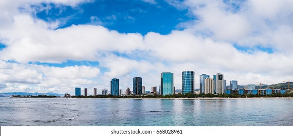 Panorama view of Ala Moana Beach including the hotels and buildings in Kakaako district, Honolulu, Oahu island, Hawaii, USA