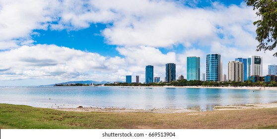Panorama view of Ala Moana Beach including the hotels and buildings in Ala Moana, Honolulu, Oahu island, Hawaii, USA