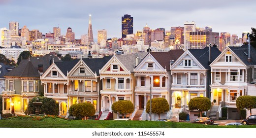 Panorama view of Alamo Square at sunset. During twilight time