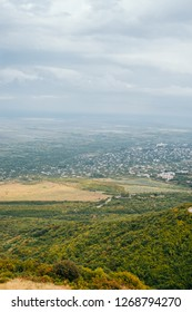 Panorama view of the Alazani Valley from the height of the hill.