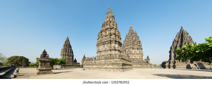 Panorama view of ancient archaeological site of Prambanan with Hindu temples and stupas, Yogyakarta, Indonesia.