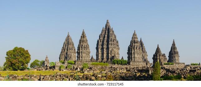 Panorama view of ancient archaeological site of Candi Prambanan with Hindu temples and stupas, Yogyakarta, Indonesia.