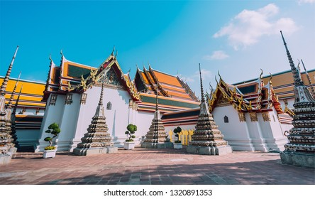 Panorama view of Ancient Stupas and Pagoda in Wat Pho temple or Reclining Buddha Temple, A Famous tourism landmark in Bangkok Thailand