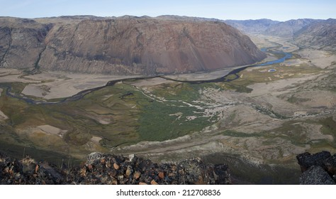Panorama view of arctic valley with forest of arctic willow, Greenland