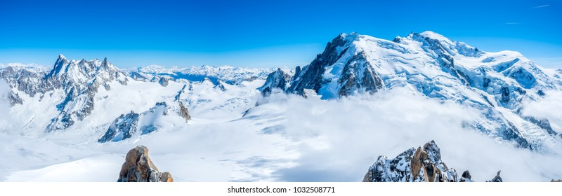 Panorama view around top of Mont Blanc mountain peak, highest peak of Europe, in Chamoix Mont-Blanc town, France