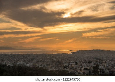 Panorama view of Athens port in sunset, Greece