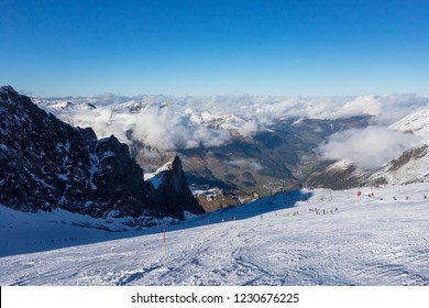 Panorama view of Austrian ski region of Hintertux Glacier in the region of Tyrol with a view to Ziller valley (Zillertal)
