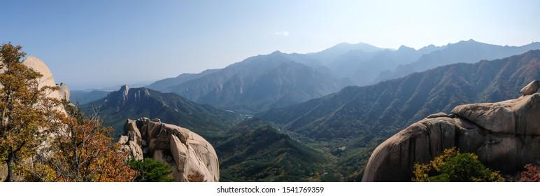 Panorama view in Autumn. Seoraksan National Park, Sokcho, South Korea.