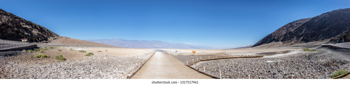 Panorama view at Badwater Basin . It is an endorheic basin in Death Valley National Park (One of hottest places in the world), California , USA.The lowest point in North America below the sea level.