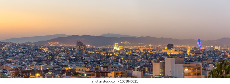 Panorama view of barcelona city   at dusk time,Spain