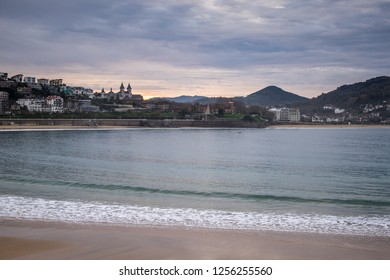 Panorama view of the beaches La Concha and Ondarreta, the Aiete and Miramar palaces and the cityscape of San Sebastian, Basque Country, Spain