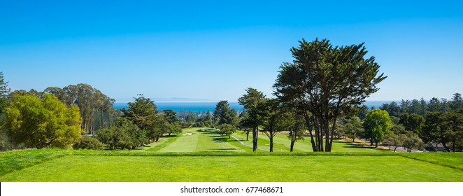 Panorama view of a beautiful golf course by the sea