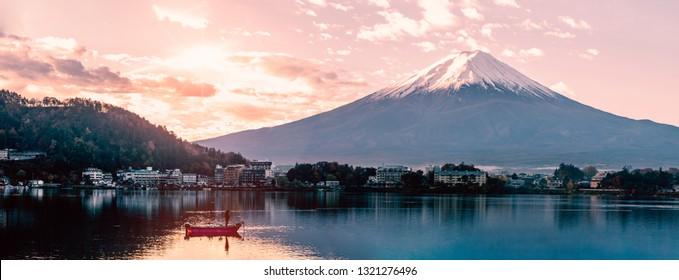 Panorama view of beautiful mt.Fuji in the morning , View from lake Kawagushiko , Japan