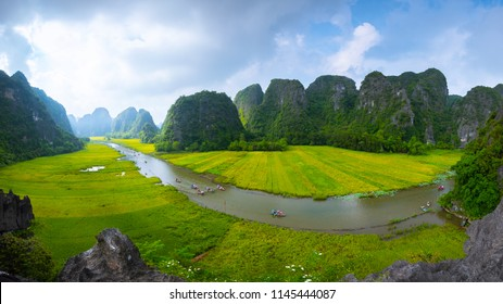 Panorama view of the beautiful rice field seen from above at Tam Coc, Ninh Binh Province, Vietnam.