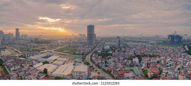 Panorama view of beautiful sunset from above looking down the buildings in Hanoi capital, Vietnam. date 22/05/2018