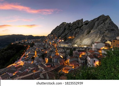 Panorama view of the beautiful village of Pietrapertosa and Castelmezzano on the Italian dolomites in southern Italy. Typical italian small village during a hot summer day.